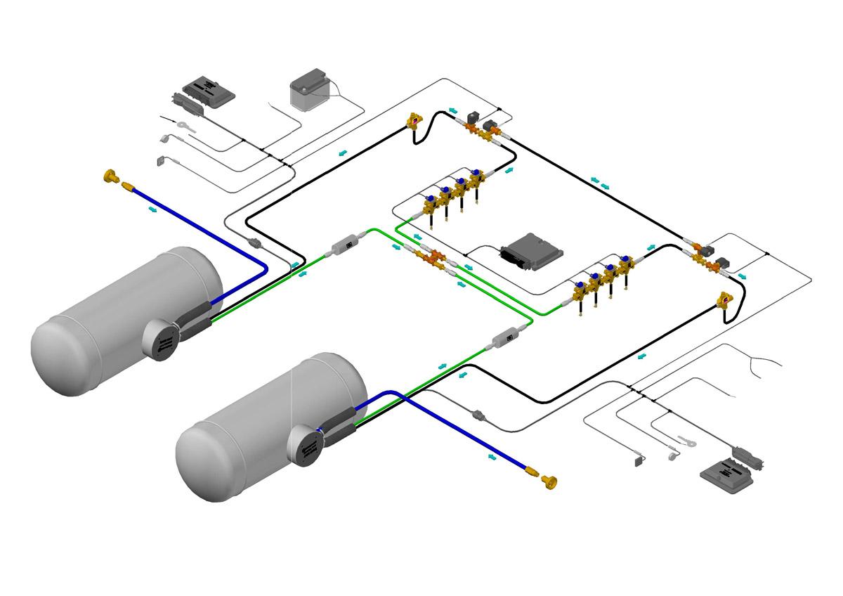 Impianto JTG-can Mono-Fuel 8 cilindri doppio serbatoio